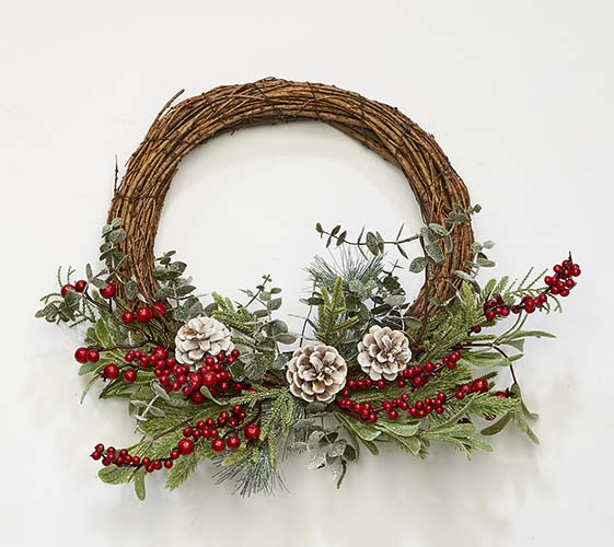 "20"" Pine Needle, Pine Cone Red Berries Half Wreath"