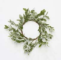 "4.5"" Frosted Green Leaves Candle Ring"